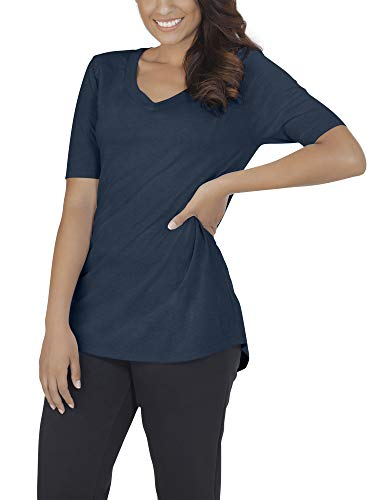 Fruit of the Loom Women's Essentials French Terry Pants and Tri-Blend Tees, V-Neck - Blue Heather, X-Large