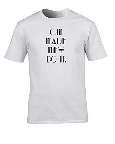 FatCuckoo- Gin Made Me Do It - Art Deco Style Funny Alcohol Witz Excuse Herren T-Shirt Gr. L, weiß