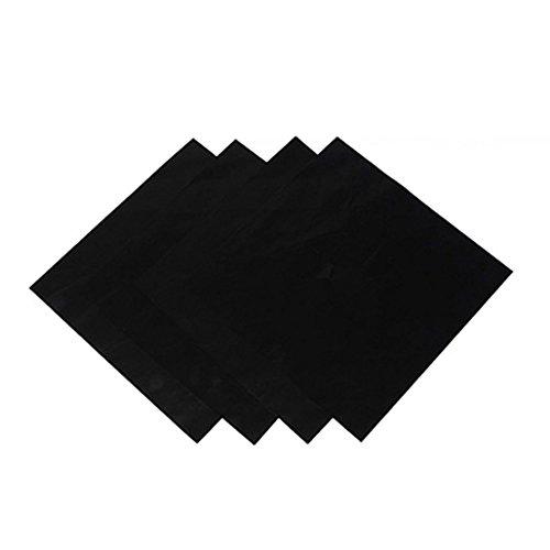 Gasherd-Schutzfolie, quadratisch, wiederverwendbar, leicht zu reinigen, Schutzunterlage, 4 Stück, Schwarz , Einheitsgröße