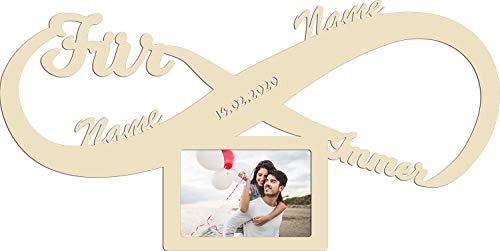 Namofactur Personalisierter Bilderrahmen Partner Hochzeitsgeschenke Hochzeit Verlobung Holz Geschenke 10x15 cm Paar Pärchen Männer Frauen Freundin Freund besondere Geschenke