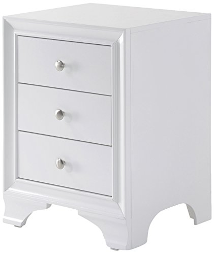 Acme Blaise Nightstand with 3 Drawers and USB Dock, White