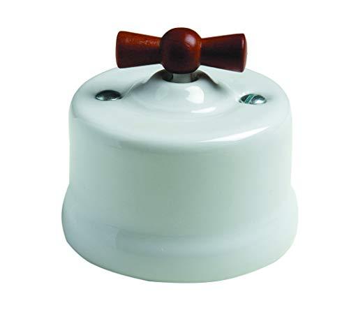 Fontini 30306622 Interruptor Porcelana, Decorada Azul Lazo Madera