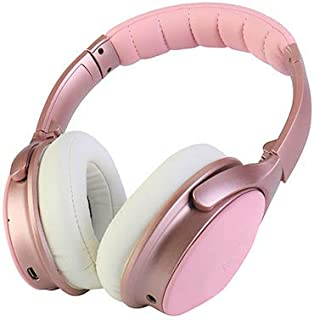 XINWU 800 Active Noise Cancelling Bluetooth Headphone, Stereo Surround Sound w/Soft Protein Earmuff, Built-in Mic, 20h Battery Life Fodable Lightweight Over Ear, PU Leather Cover (Pink)