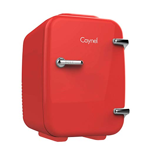 CAYNEL Mini Fridge Cooler and Warmer, (4Liter / 6Can) Portable Compact Personal Fridge, AC/DC Thermoelectric System, 100% Freon-Free Eco Friendly for Home, Office and Car (Cherry)