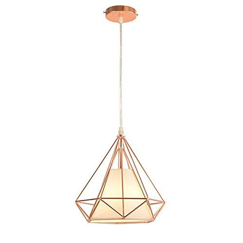 STOEX E27 Métal Retro Lustre Suspension industrielle forme Diamant 25cm, Lampe de Plafond Abat-Jour Luminaire, Or Rose