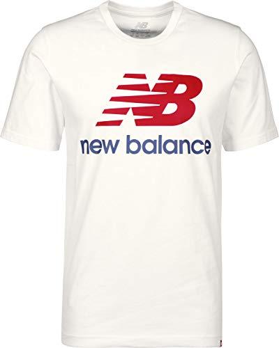New Balance Essentials T-Shirt à Manches Courtes avec Logo empilé pour Homme Moyen Blanc