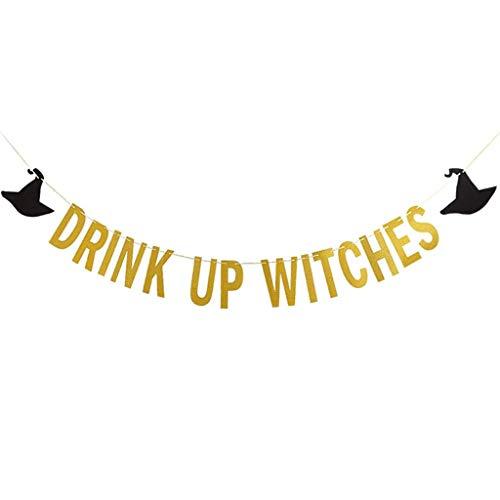 S-TROUBLE Gold Glittery Drink Up Hexen Banner, Halloween Party Home Wand Innen- & Außendekoration Zubehör