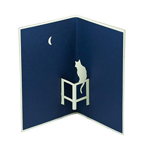 Favour Pop Up Biglietto d' auguri–Gatto sotto la luna Elegante Design, aufwaendige Realizzato...