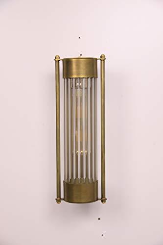 Applique da parete Alaia by Luce Vintage - Lampada da parete LED design industriale tubo verticale in vetro rigato e struttura in ottone