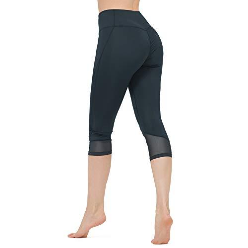 CAMEL CROWN 3/4 Pantaloni Yoga da Donna Tummy Control Leggings Sportivi Capri Donna Elastici Collant a Vita Alta Fitness Corsa Palestra Allenamento in Rete