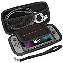 LAWOHO Travel Nintendo Switch Case, Carrying Case for Nintendo Switch with 8 Game Cartridges, Protective Hard Shell Travel Carrying Case Pouch for Nintendo Switch Console & Accessories, Black