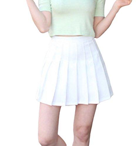 Jixin4you Sport Stil Damen Mädchen Minirock Sommerrock Faltenröcke Kurzer Rock Mini Plissiert Rock Skater Rock XL Weiss