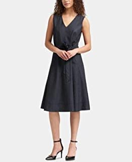 DKNY Womens Navy Denim Sleeveless V Neck Below The Knee A-Line Dress US Size: 4