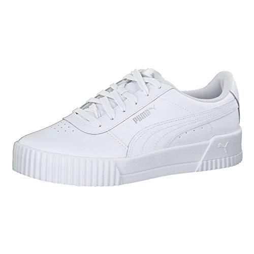 PUMA Carina L, Zapatillas Mujer, Blanco White/White/Silver, 38.5 EU