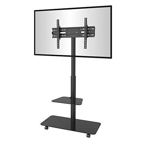 conecto CC50589 - Soporte de TV Universal con Ruedas para Monitor, LCD, LED, Plasma móvil, con Altura Regulable, orientable 32-65 Pulgadas (81-165 cm), VESA 600 x 400 mm, Color Negro