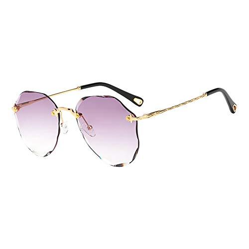 MSYOU Klassische Sonnenbrille mit geschliffenem Rand, Farbverlauf, Metall, Polygon-Stil, Sonnenbrille für Damen und Mädchen, Outdoor, Urlaub, Reiten, Anti-UV-Blendung (hellviolett)