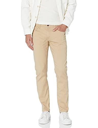 Southpole Men's Flex Stretch Basic Twill and Rinse Denim Pants, Light Khaki Skinny, 34X32