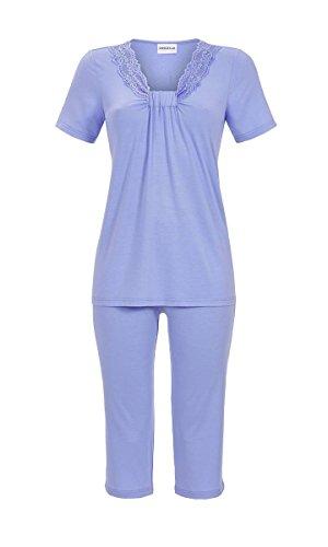 Ringella Damen Pyjama mit Caprihose Rauchblau 52 9211226, Rauchblau, 52