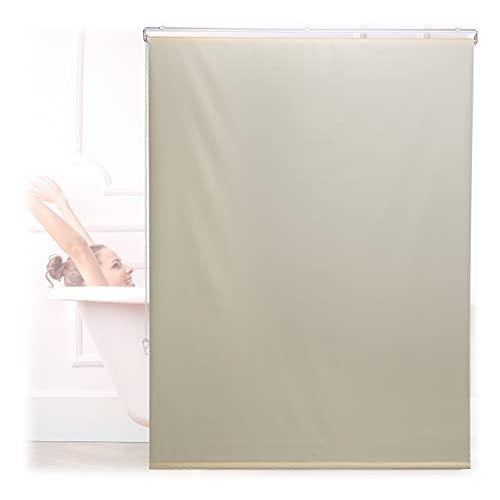 Relaxdays Duschrollo, 120x240 cm, Seilzugrollo für Dusche & Badewanne, Decke & Fenster, Badrollo wasserabweisend, beige, 10034184_1047