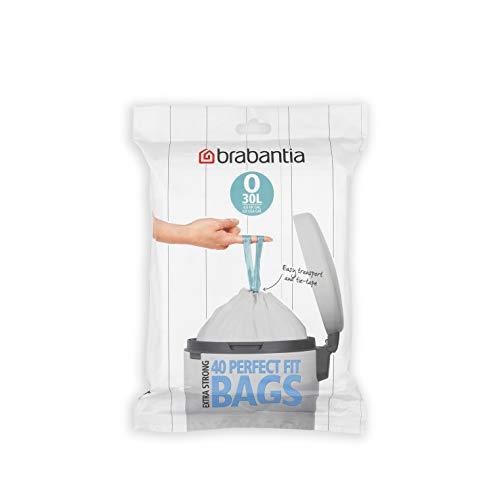 Brabantia 124846 Sacs Poubelle PerfectFit O, 30 litres, Format Distributeur, Blanc, Taille Unique