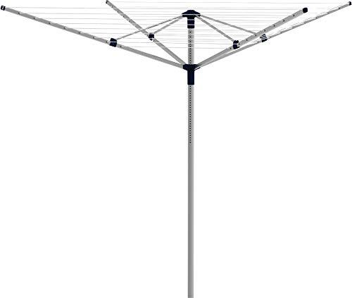 Gimi Garden Aluminium 50 Stendibiancheria da Giardino, Stendino Ombrello, Spazio di Stenditura 50 m, Alluminio, Bianco, 180 x 180 x 186.5 cm