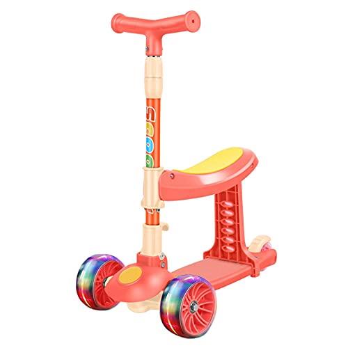 Nrkin Patinete 3 en 1 para niños con asiento plegable, ruedas LED, altura regulable para niños pequeños y niñas a partir de 2 años