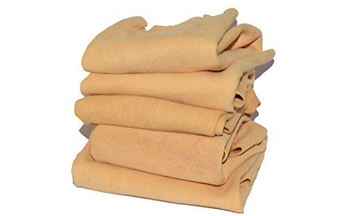 CarMax English Premium Natural Chamois Leather - Fanatic s Five Pack - Regular 2.0 Sq Ft - Perfect for detailing, glass, mirrors - best quality, amazing value