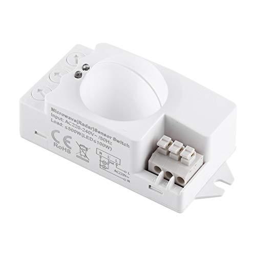 Interruptor de luz del sensor de movimiento 1pc, detector de movimiento de radar de 500 grados de 360 W Interruptor de luz del sensor de microondas inteligente