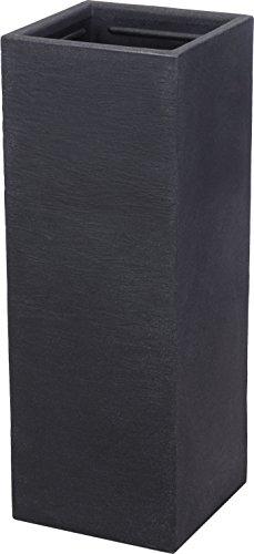 Spetebo XXL Kunststoff Pflanzkübel anthrazit 80 cm - Übertopf eckig - Blumenkübel Pflanzkasten Pflanzsäule
