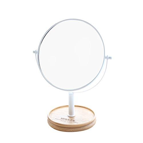 KaxJZ Maquillaje blanco Espejos, de doble cara Espejos de afeitar de alta definición de belleza chica Espejos de la habitación Medio Espejos de madera redondo de los hombres de la Base Espejos plano l