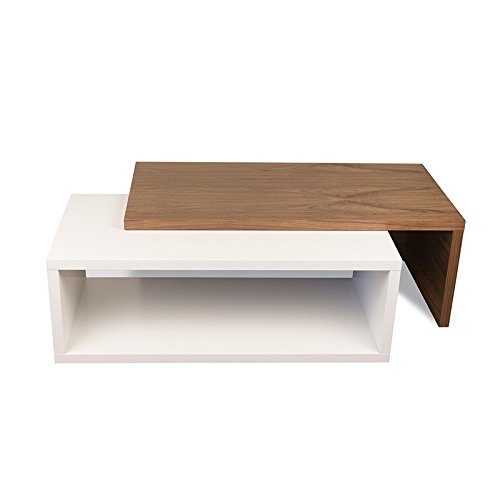 Paris Prix - Temahome - Table Basse 90cm Jazz Blanc Mat & Noyer