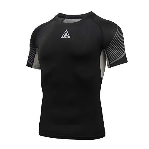 AMZSPORT Maglia Compressione Uomo, T-Shirt Manica Corta di Raffreddamento Maglietta Palestra Fitness, Nero, M