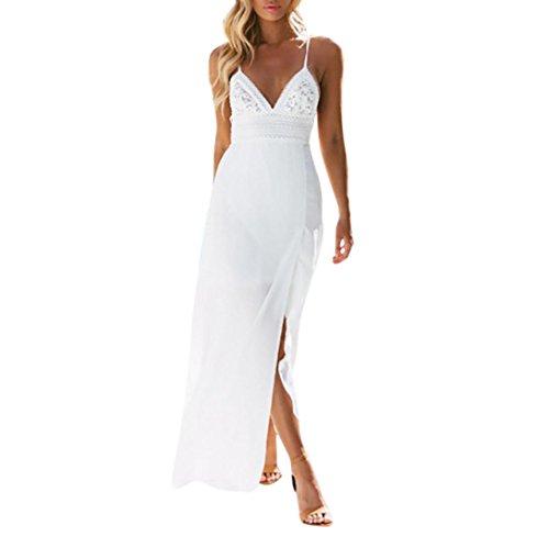 TOTOD Women White Dress Women Sexy Lace Camisole Splicing Backless Chiffon Sleeveless Beach Long Dress