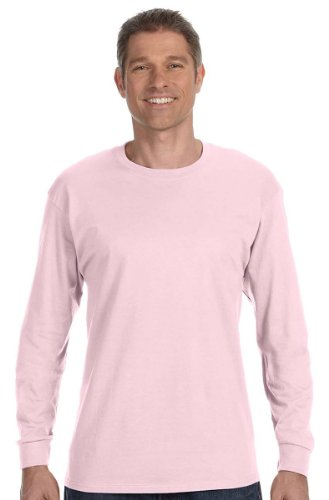 Hanes TAGLESS 6.1 Long Sleeve T-Shirt, M-Pale Pink