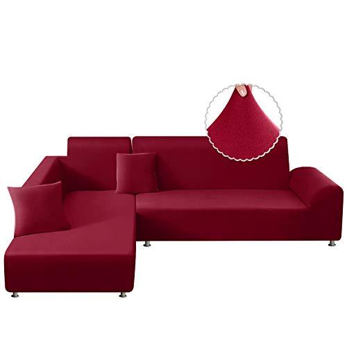 TAOCOCO Sofa Überwürfe Sofabezug Elastische Stretch Sofabezüge für L-Form Sofa Abdeckung 2er Set für 3 Sitzer + 3 Sitzer mit 2 Stücke Kissenbezug (Rot)