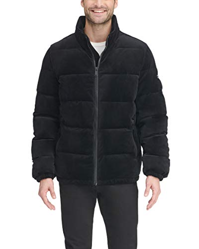 DKNY Men's Quilted Velvet Ultra Loft Puffer Jacket