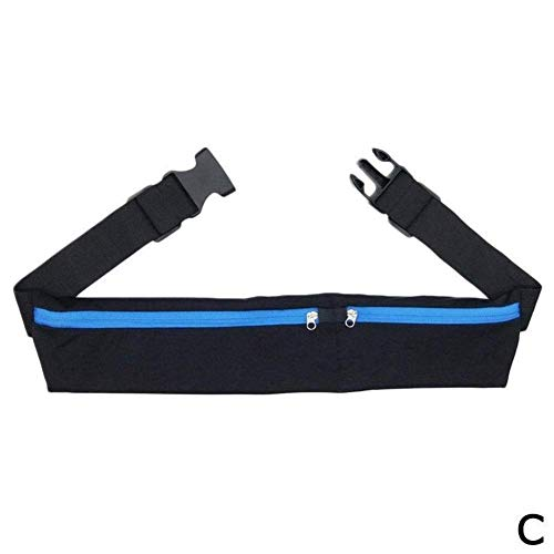 SHRAY Dual Pocket Running Belt Phone Pouch Waist Bag Sports Hiking Cycling Travel Fanny Pack for Jogging Cycling Outdoors Blue
