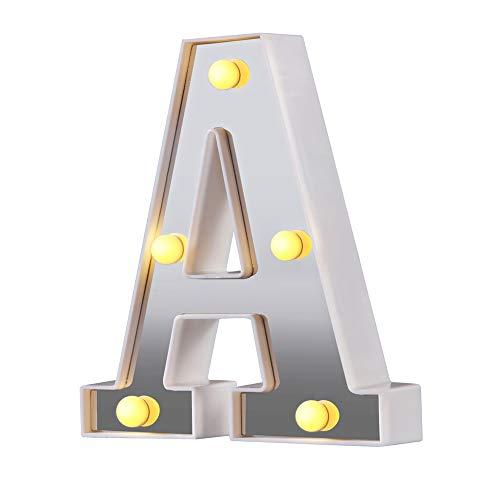 Luces de letras de marquesina LED 26 letras del alfabeto iluminado Letrero perfecto para luz nocturna Boda Fiesta de cumpleaños Lámpara de Navidad Decoración de la barra del hogar (Plata A)
