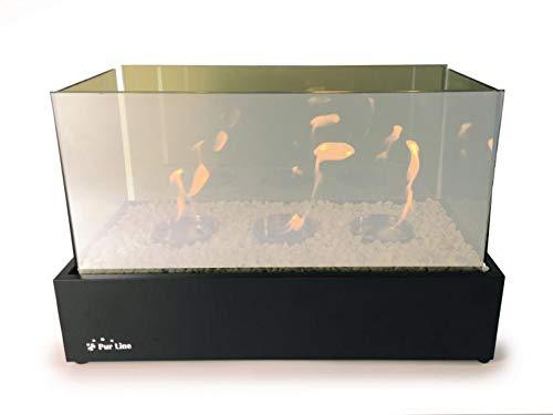 PURLINE NYMPHA Plus Infinity TischBiochemie aus schwarz lackiertem Stahl mit gehärtetem Glas und 3-fach Flammeneffekt