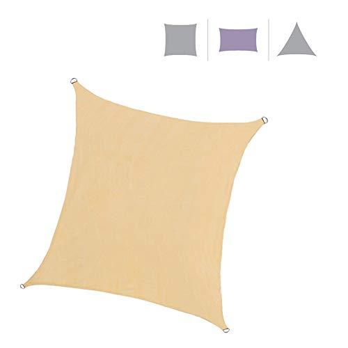 Rebecca Mobili Tenda Parasole da Esterno Vela Rettangolare Beige Polietilene Corde Incluse Anti Raggi UV Campeggio Terrazzo 3x4 mt (cod. RE6343)