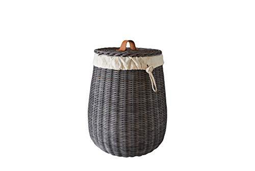 Sechome B10-BET Cesto Portabiancheria Rotondo in Midollino Naturale Tinto Grigio, sfoderabile, Handmade, Eco sostenibile, Vimini