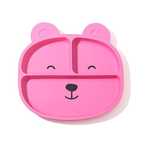KDAQO Bären-Karikatur-Baby-Integrierte Silikon-Dinner Plate, Anti-fällt Saugnapf Nahrungsergänzungsmittel Schüssel, Geeignet for Schule, Familie (Color : C)
