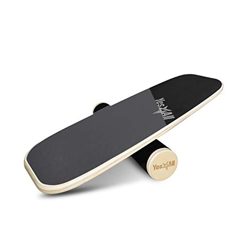 "Yes4All Premium Bongo Balance Board/Balance Board Trainer – 29"" Long Wooden Bongo Board and 4"" Diameter Roller, Yellow/Black"