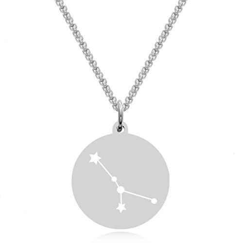 Timando Damen Kette Sternbild Krebs mit Gravur Sternzeichen Plättchen Anhänger Edelstahl