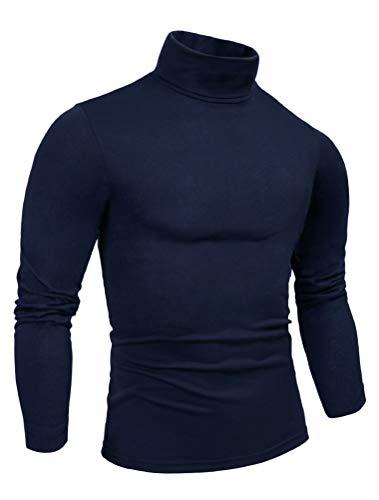 Smokeyojos Mens Navy Turtleneck Long Sleeve Casual Mock Turtleneck Slim Fit for Men, Solid Pullover Sweater(Navy,36)