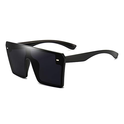 Dollger - Gafas de sol cuadradas de gran tamaño para mujer y hombre, estilo retro, con parte superior plana, espejo sin montura, Negro (negro, (Black Frame Black Lens)), Large