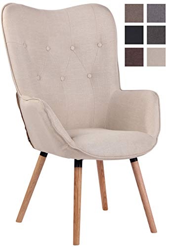 Lounger Ashford Stoff I Ohrensessel Gepolstert I Sessel Mit Eichenholzgestell I Sitzhöhe: 50 cm, Farbe:Creme, Gestell Farbe:Gestellfarbe Natura