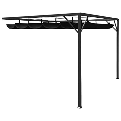 vidaXL Garden Wall Gazebo with Retractable Roof Canopy Garden Party Pop Up Tent Shelter Patio Pavilion Marquee Outdoor 3x3m Anthracite Tent