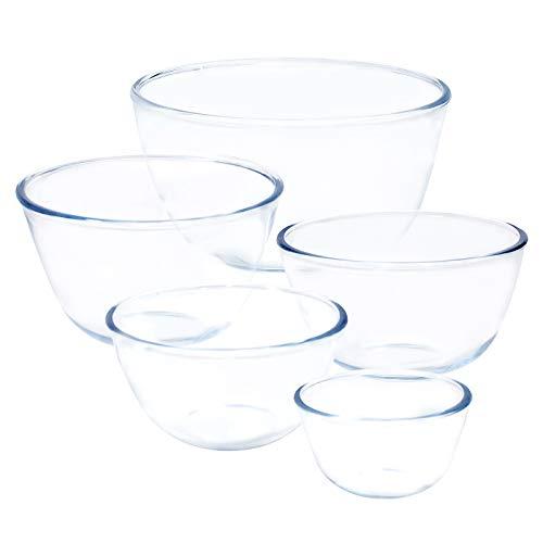 Kitsure 耐熱ガラス ボウル 5個セット 透明 丸型 サラダボウル(500ml 700ml 1000ml 1.5L 2.5L)電子レンジ・食洗機・オーブン対応 耐熱耐冷 洗浄便 利 お菓子作り 食器セット 調理器具