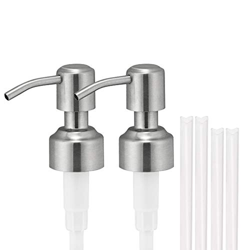 Satisfounder 304 Stainless Steel Soap Dispenser Pump Replacement,2 Pack Rust Proof Soap and Lotion Pump for Your Kitchen Bathroom Soap Dispenser,Fit Standard 8oz/16oz Boston Round 28/400 Neck Bottles